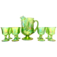 "Mid-20th Century American ""Carnival Glass"" Drinks, Set of 9 Pieces"