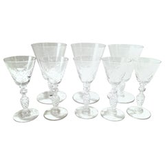 Mid-20th Century American Cut and Etched Crystal Stem Glasses, Set of 8