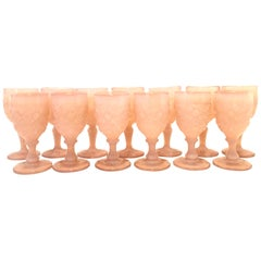 Mid-20th Century American Cut Glass Stem Drink Glasses Set of 13