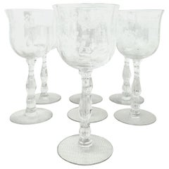 Mid-20th Century American Etched Crystal Stem Glasses Set of Seven Pieces