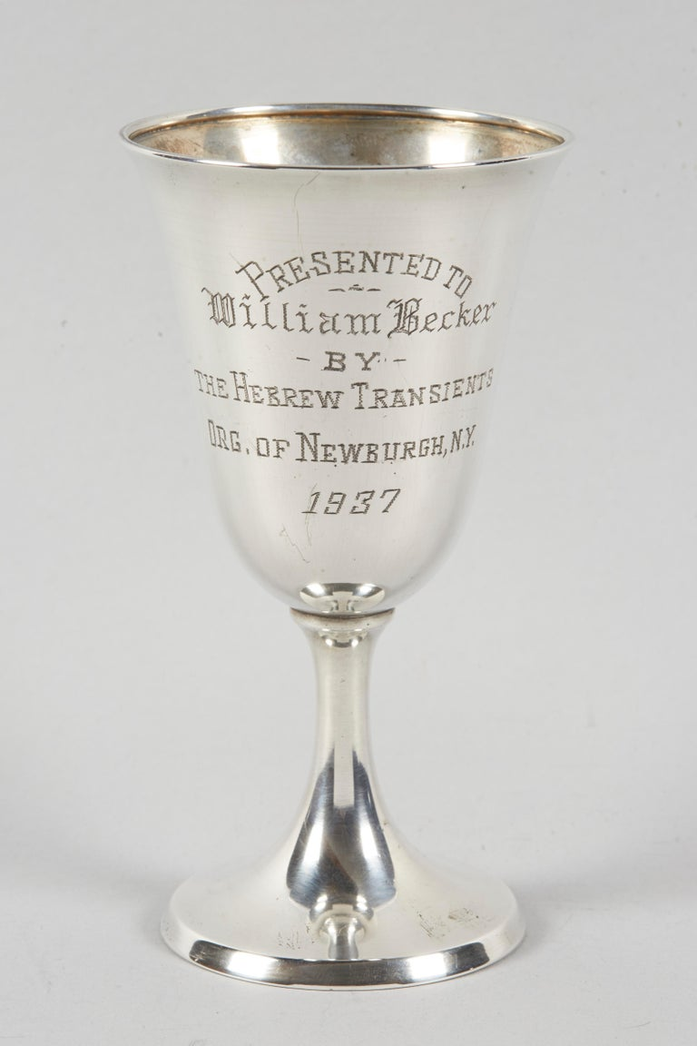 American sterling silver Kiddush Goblet, engraved in Yiddish with Hebrew letters and in English: