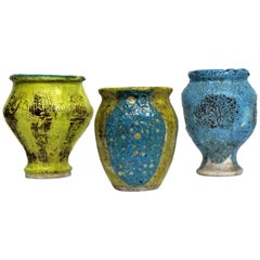 Mid-20th Century American Studio Art Pottery Lava Glaze Vases