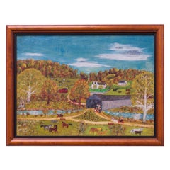 Mid-20th Century Amish Pastoral Scene Oil on Canvas by Harvey Milligan