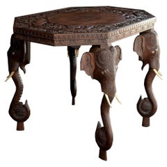 Mid-20th Century Anglo-Indian Carved Elephant Table