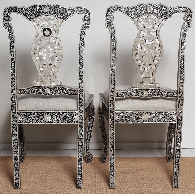 Anglo Indian Mid 20th Century Mother Of Pearl Chairs For