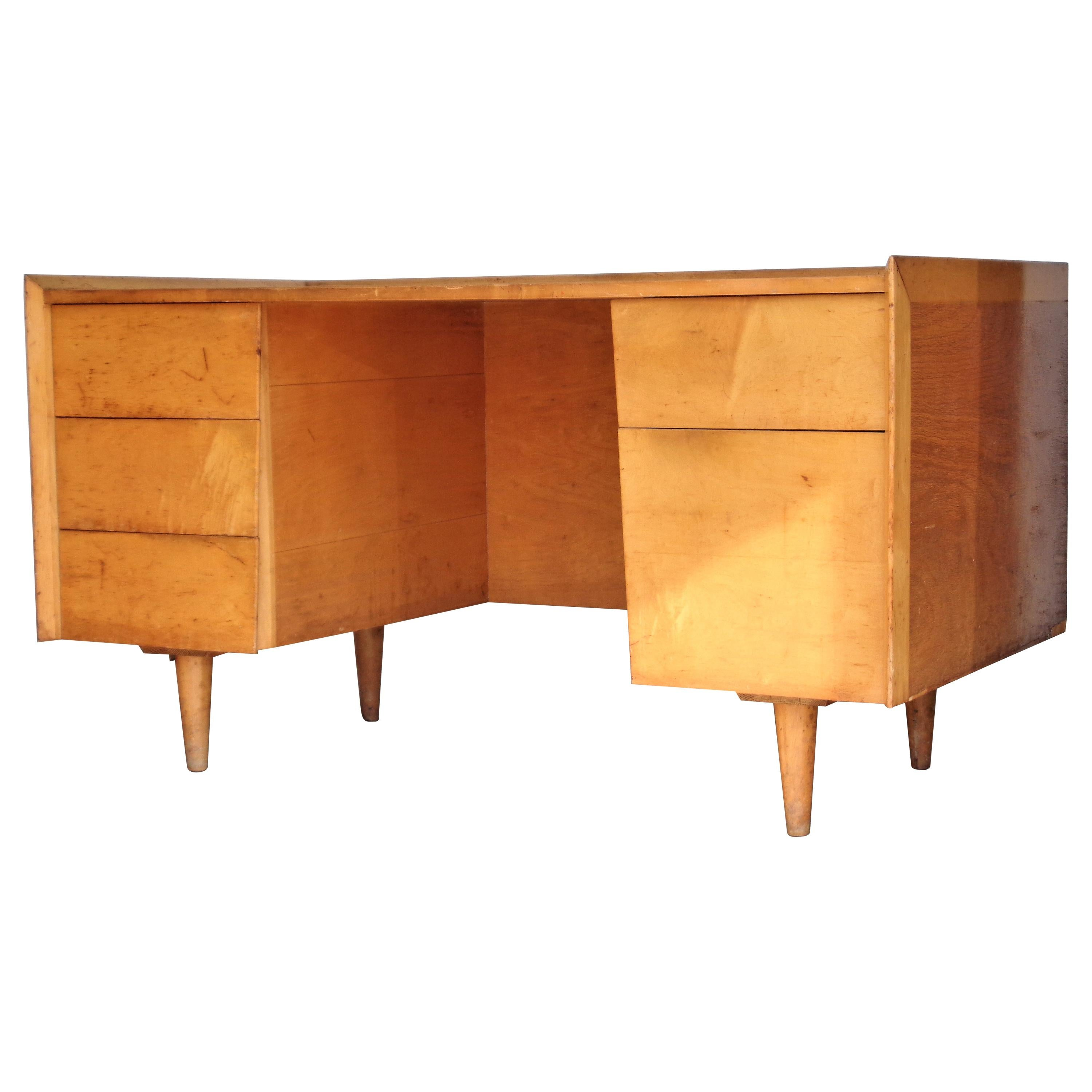 Architectural Modernist Desk in the Style of Alvar Aalto
