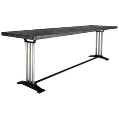 Mid-20th Century Art Deco French Restaurant Zinc Dining Table
