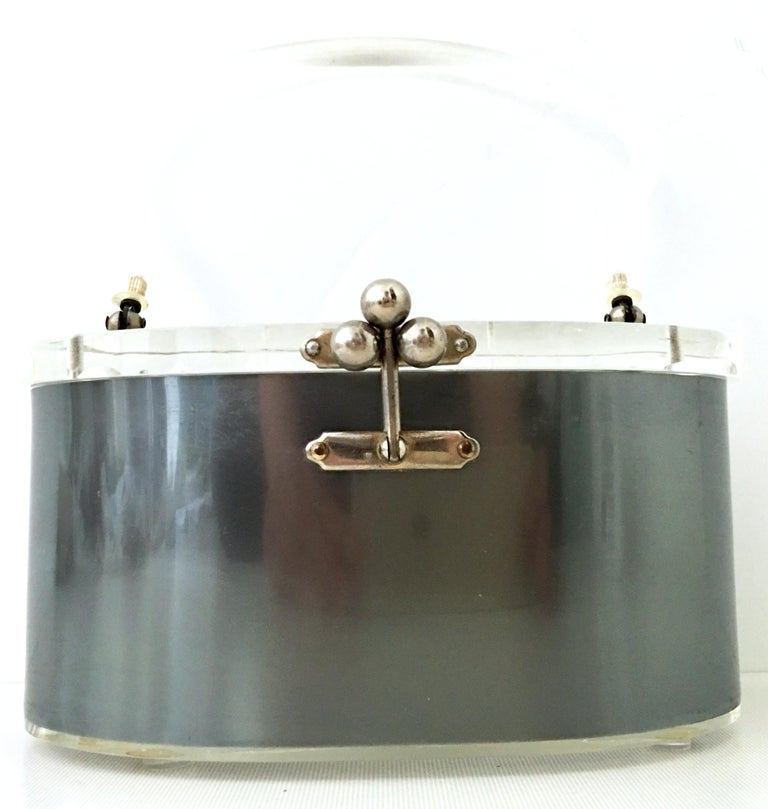Gray Mid-20th Century Art Deco Lucite & Chrome Box Style Hand Bag By, Charles Kahn For Sale