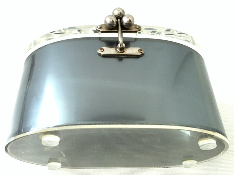 Mid-20th Century Art Deco Lucite & Chrome Box Style Hand Bag By, Charles Kahn For Sale 2
