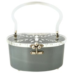 Mid-20th Century Art Deco Lucite & Chrome Box Style Hand Bag By, Charles Kahn