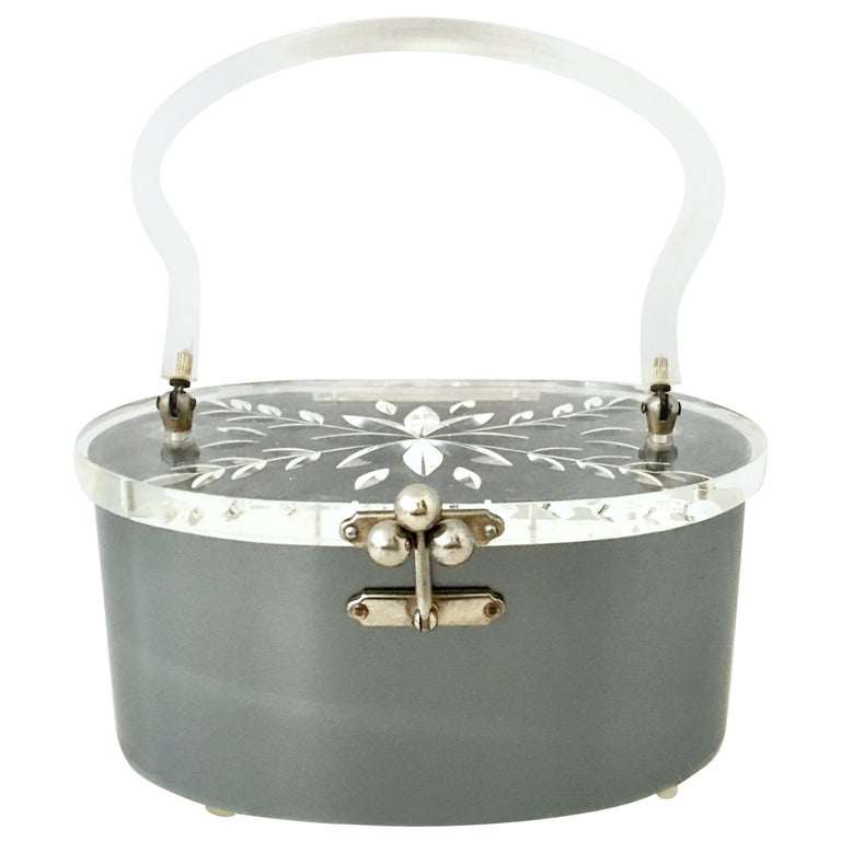 Mid-20th Century Art Deco Lucite & Chrome Box Style Hand Bag By, Charles Kahn For Sale