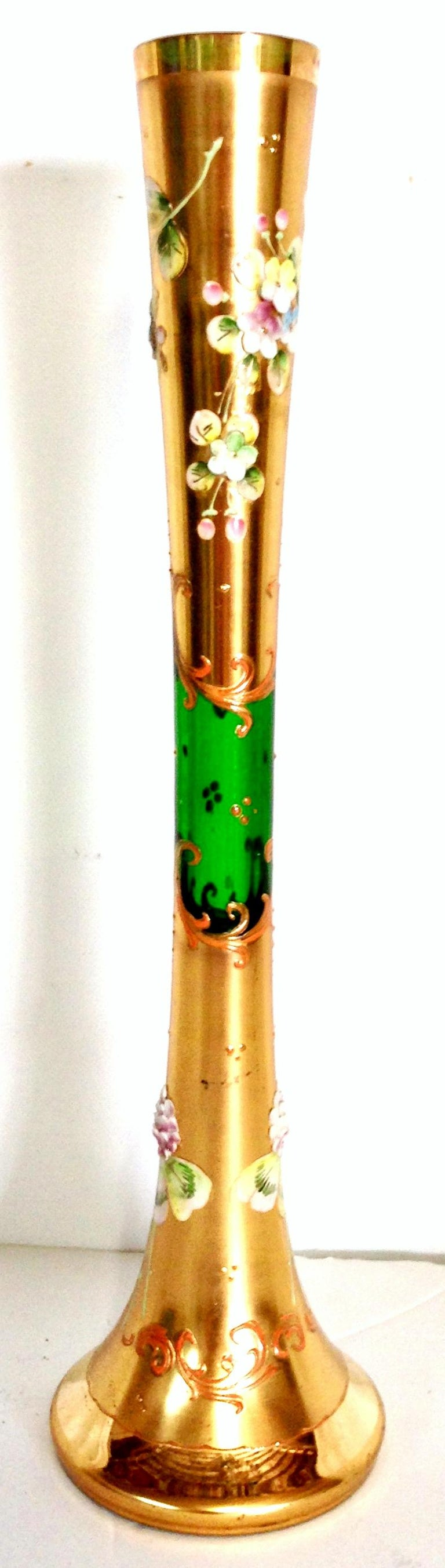 Mid-20th Century Art Nouveau Bohemia Art Glass & 22K Gold Vase. Features a fluted shape with emerald green ground and heavily applied 22K Gilt Gold, hand painted floral motif