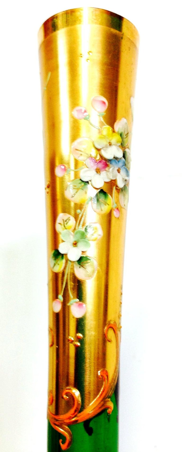 Hand-Painted Mid-20th Century Art Nouveau Bohemia Hand Painted Art Glass & 22K Gold Vase