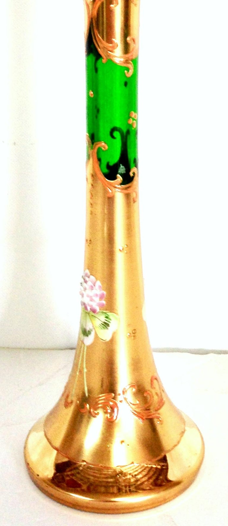 Mid-20th Century Art Nouveau Bohemia Hand Painted Art Glass & 22K Gold Vase In Good Condition In West Palm Beach, FL