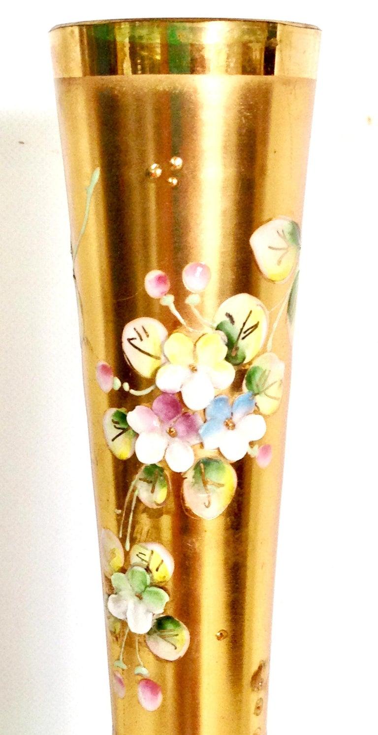 Mid-20th Century Art Nouveau Bohemia Hand Painted Art Glass & 22K Gold Vase 1