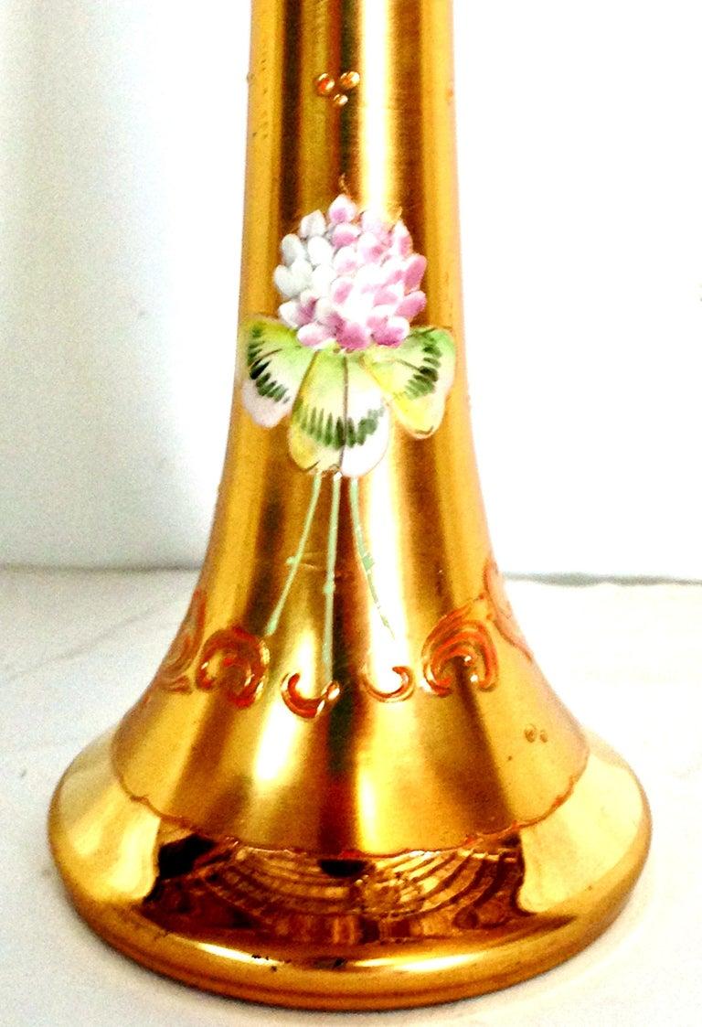 Mid-20th Century Art Nouveau Bohemia Hand Painted Art Glass & 22K Gold Vase 3