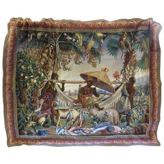 "Mid-20th Century Aubusson Style Lined Cotton Viscose Tapestry ""Island Paradise"""