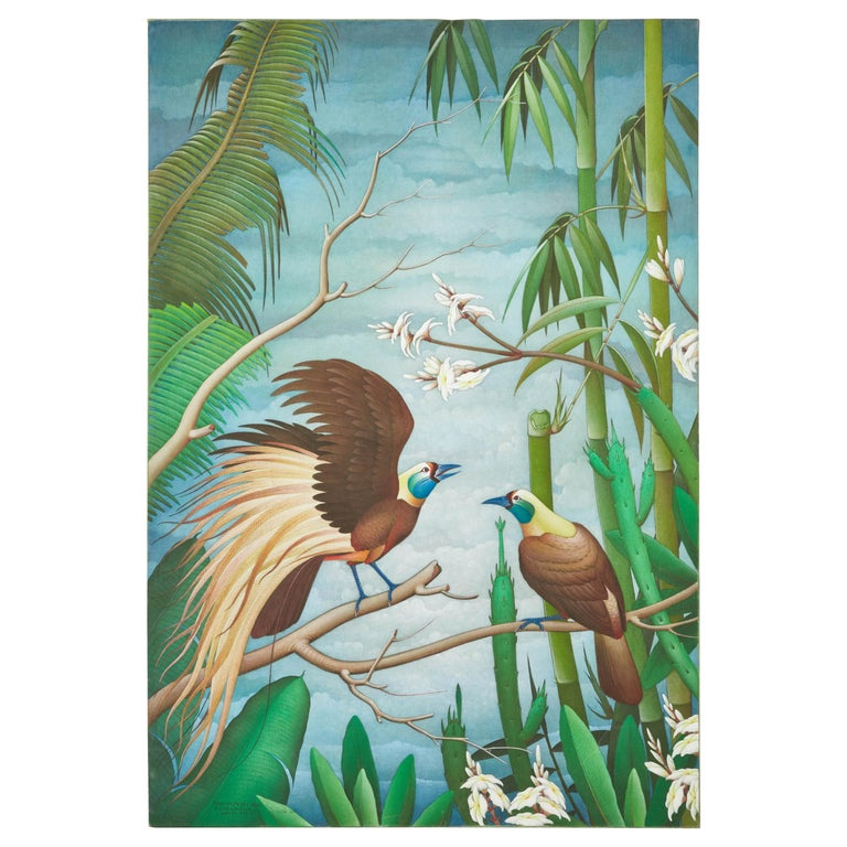 """Mid-20th Century Balinese """"Birds of Paradise"""" Painting For Sale"""