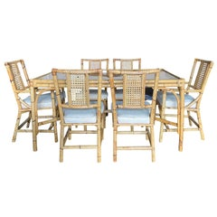 Mid-20th Century Bamboo Dining Table Set with 6 Rattan Dining Chairs