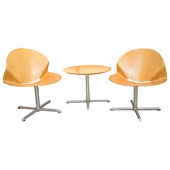 Mid-20th Century Bent Ply Wood Bistro Table and Chair Set