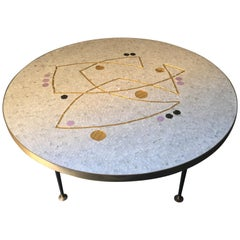 Mid-20th Century Berthold Müller Mosaic Table with Gold, Black and Lilac Accents