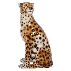 Mid 20th Century Big Rare Ceramic Leopard Decorative Sculpture, Italy, 1960s