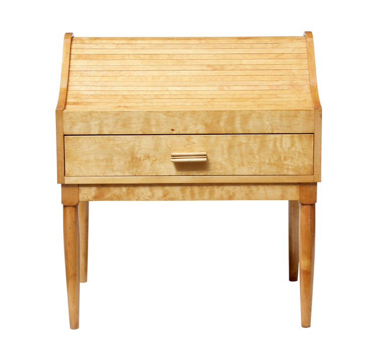 Scandinavian Modern Mid-20th Century Birch Tambour Sewing Box on Stand For Sale