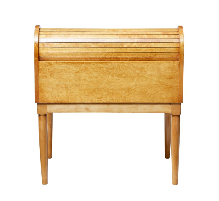 Woodwork Mid-20th Century Birch Tambour Sewing Box on Stand For Sale