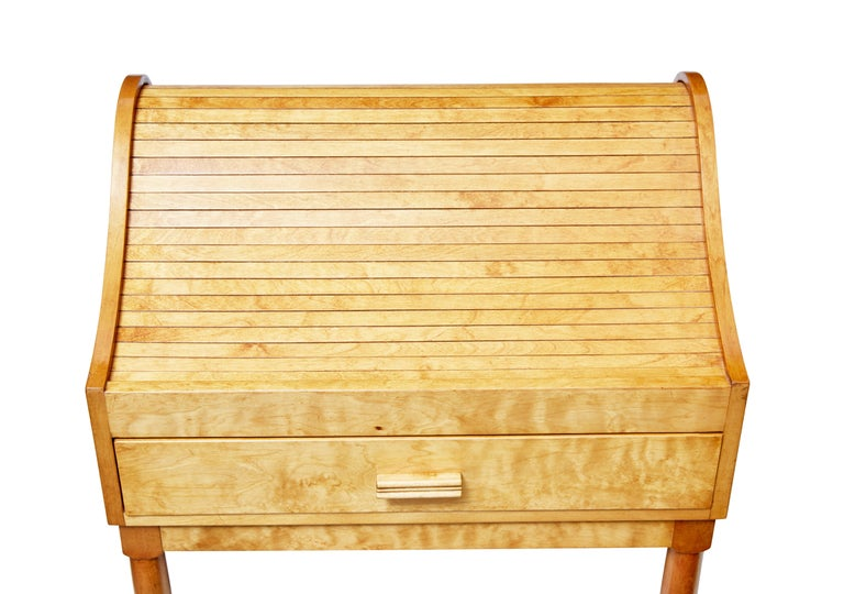 Mid-20th Century Birch Tambour Sewing Box on Stand For Sale 1