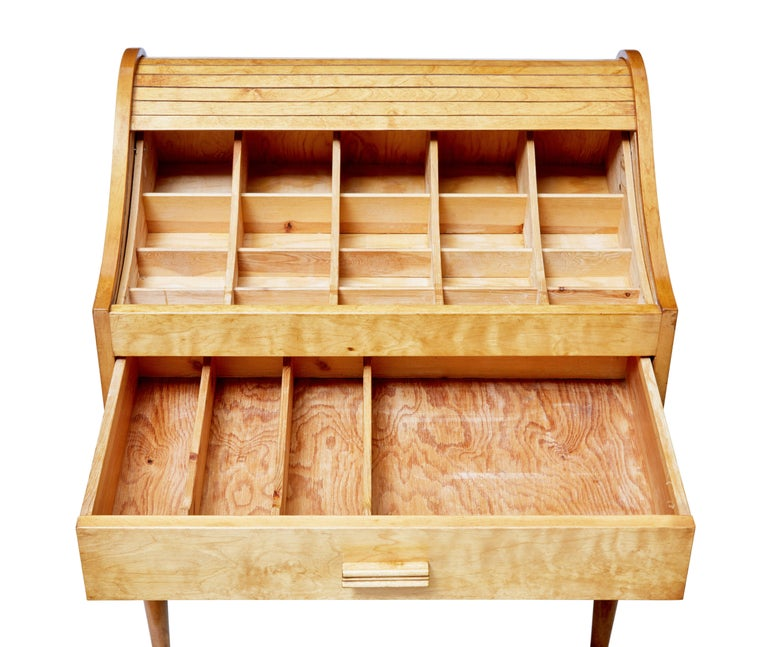 Mid-20th Century Birch Tambour Sewing Box on Stand For Sale 2