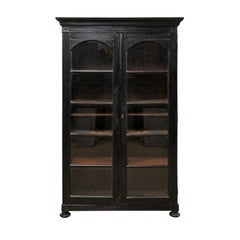 Mid-20th Century Black British Colonial Tall Display Cabinet