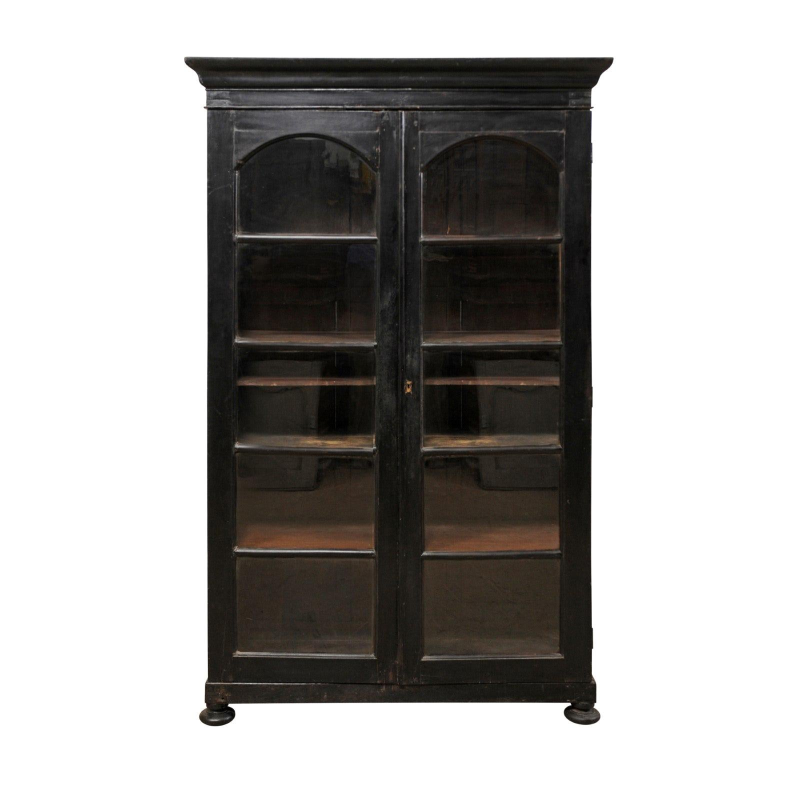 Bon Mid 20th Century Black British Colonial Tall Display Cabinet