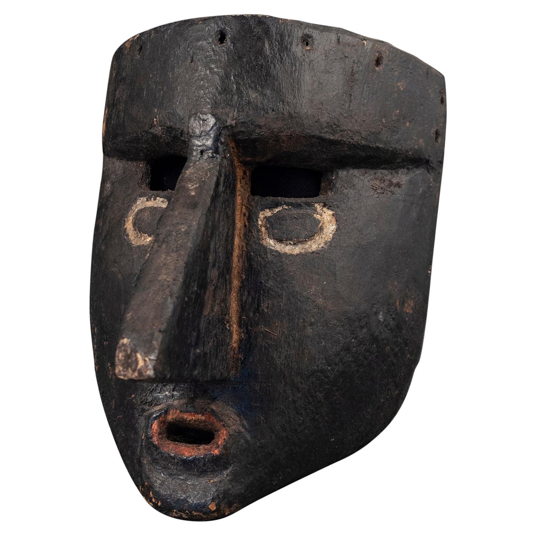 Mid-20th Century Black Dance Mask, Guerrero, Mexico