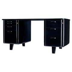 Mid 20th Century Black Lacquered Desk by Atvidabergs