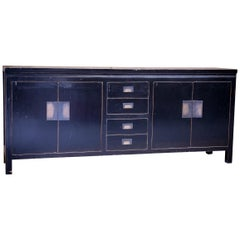 Mid-20th Century Black Lacquered Sideboard Storage Cabinet with Bronze Fittings