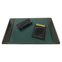 Mid 20th Century Black Leather Stitched Brass Desk Set