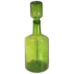 Mid-20th Century Blenko Glass Decanter-form Floor Vase in Vivid Green