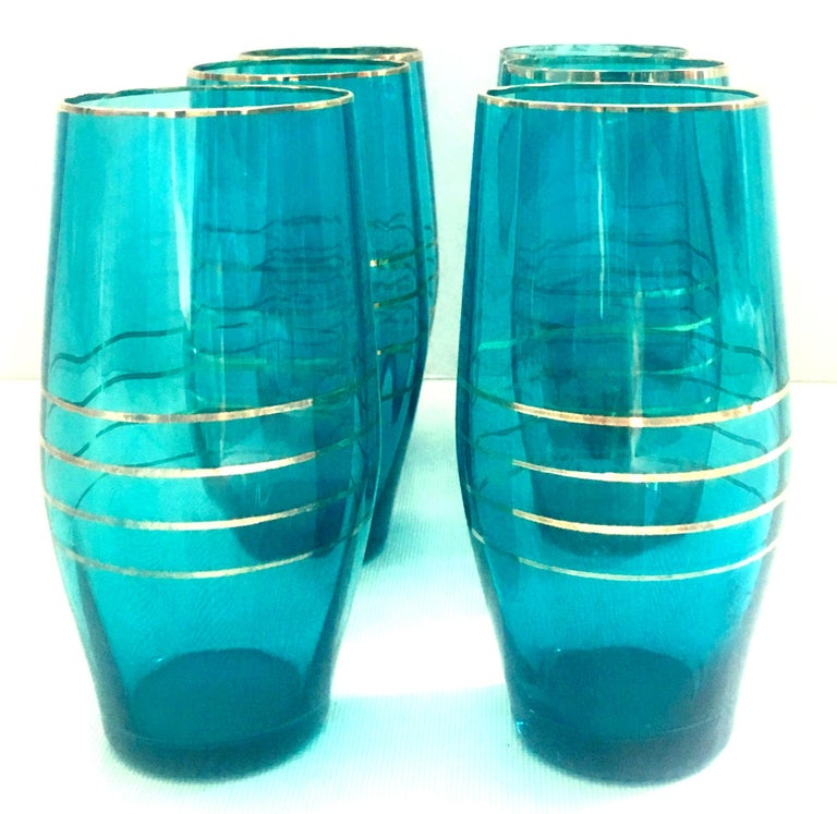 American Mid-20th Century Blown Glass & 22-Karat Gold Drink Glass Set of Six Pieces For Sale