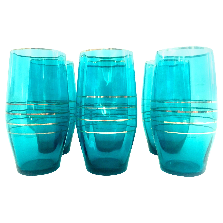 Mid-20th Century Blown Glass & 22-Karat Gold Drink Glass Set of Six Pieces
