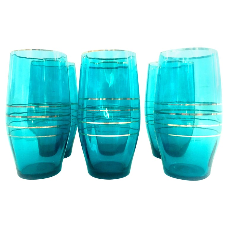 Mid-20th Century Blown Glass & 22-Karat Gold Drink Glass Set of Six Pieces For Sale