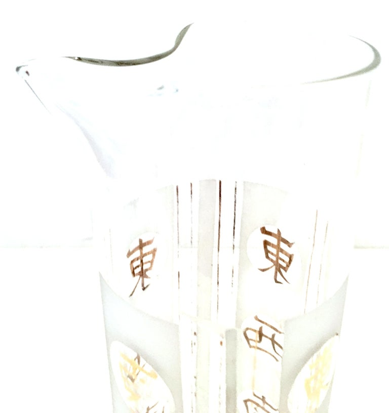 Mid-20th Century Blown Glass & 22K Gold Chinese Symbol Drinks Set of Four Pieces For Sale 3