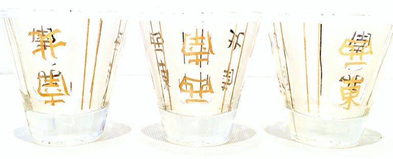 Mid-20th Century Blown Glass & 22K Gold Chinese Symbol Drinks Set of Four Pieces For Sale 5