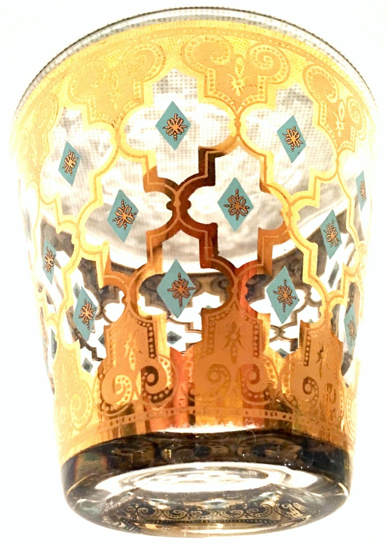 American Mid-20th Century Blown Glass & 22-Karat Gold Drinks Set of Four Pieces by Culver For Sale