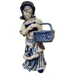 Mid-20th Century Blue and White Hand Painted Delft Porcelain Figurine