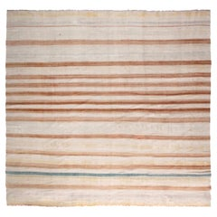 Mid-20th Century Blue, Brown and Beige Striped Indian Dhurrie Cotton Rug