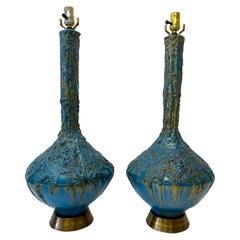 Mid 20th Century Blue & Gold Lava Glaze Table Lamps, C.1950
