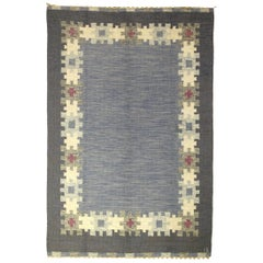 Mid-20th Century Blue, Gray Swedish Rug by Ingegert Silow Woven I.S