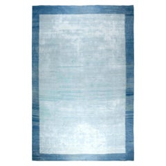 Mid-20th Century Blue Indian Dhurrie Handwoven Cotton Rug