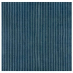 Mid-20th Century Blue Striped Indian Dhurrie Cotton Rug