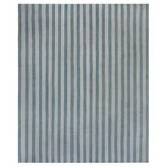 Mid-20th Century Blue Striped Indian Dhurrie Handmade Cotton Rug